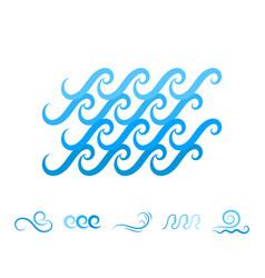 Sea wave blue icons or water liquid symbols vector