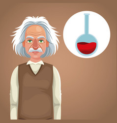 Character scientist physical thinking test tube vector