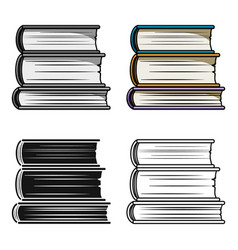 stack of books icon in cartoon style isolated on vector image