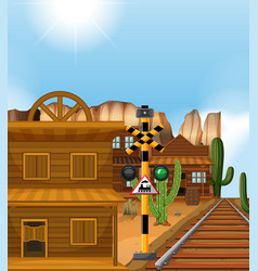 Train track through western town vector