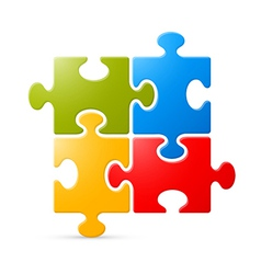 Colorful puzzle on white background vector