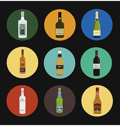 Alcohol drinks bottles icon set vector