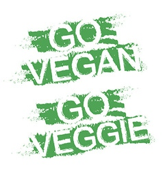 Go vegan go veggie green graffiti signs vector