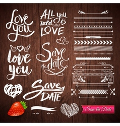 Love texts borders symbols on wooden background vector