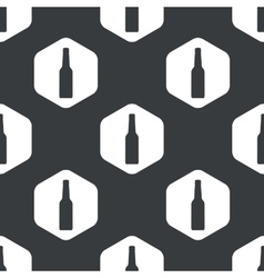 Black hexagon alcohol bottle pattern vector