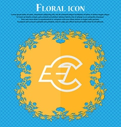 Euro eur floral flat design on a blue abstract vector
