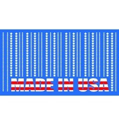 Made in usa text and bar code from stars vector