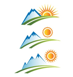 Set of Mountain with Sun vector image