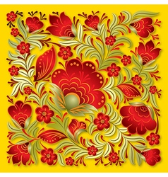 Abstract red floral ornament on a yellow vector