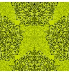 Ethnic decorative handmade green seamless pattern vector