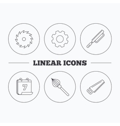 Fretsaw and repair tools icons vector