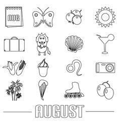 august month theme set of simple outline icons vector image vector image