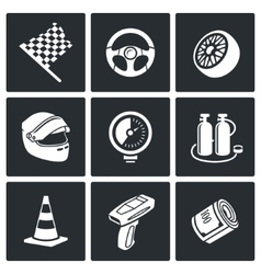 Auto racing icons set vector