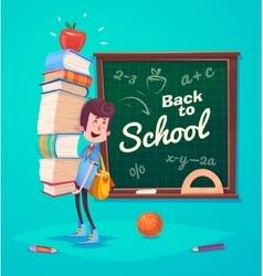 Back to school Cute schoolchild near supplies vector image