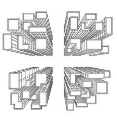 Big city with skyscrapers birds eye view vector