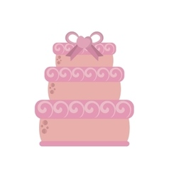 Big wedding cake pink ribbon heart vector