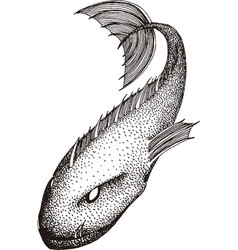 Black and white sea monster vector