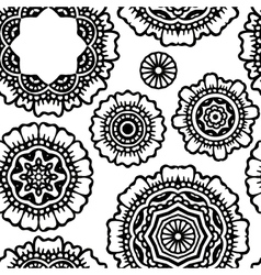 black floral mandala seamless pattern pr vector image