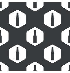 Black hexagon alcohol bottle pattern vector