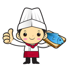 Cartoon cook character a fish and thumb gesture vector