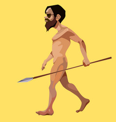 Cartoon modern man stripped and took a javelin vector