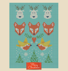 Christmas greeting card with knitted foxes deers vector