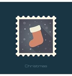 Christmas socks flat stamp vector