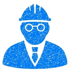 Clever engineer grainy texture icon vector