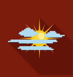 cloudy sun icon flat style vector image