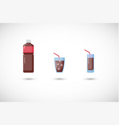 Cola flat icons set vector