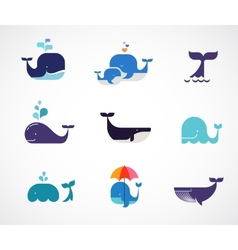 Collection of whale icons vector image vector image