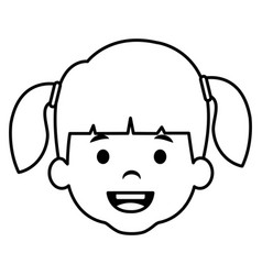 Cute and little girl head vector