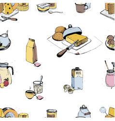 dairy products hand drawn seamless pattern milky vector image