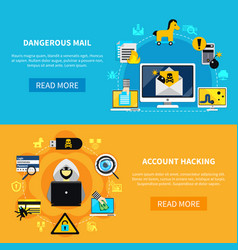 Dangerous mail and account hacking flat banners vector