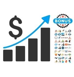Financial bar chart icon with 2017 year bonus vector