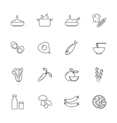 food and ingredients icons set line icon vector image