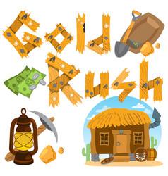 Goldfield wild west shack prospector tools money vector