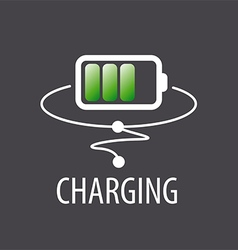 Logo with green battery charging vector