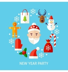 New year party flat concept vector