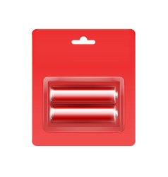 red alkaline aa batteries in red blister vector image vector image