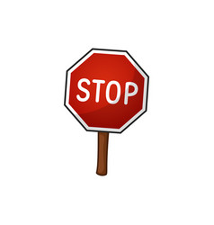 Road sign stop cartoon vector