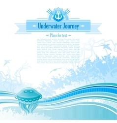 Sea background in blue colors with net foam and vector