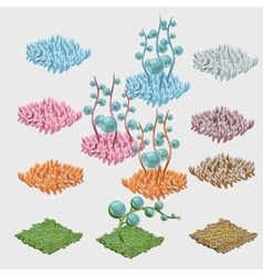 Set of colorful sea grasses and unusual flowers vector image vector image