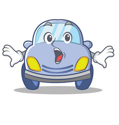 surprised cute car character cartoon vector image