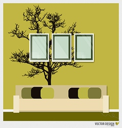 Three empty frames on a wall and Decorative Wall vector image vector image