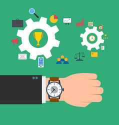 time management concept wristwatch on the hand of vector image