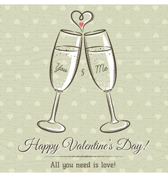 Valentine card with two glass of wine vector
