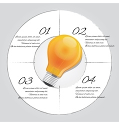 Bulb idea graphic 4 steps template vector