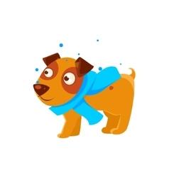 Puppy in blue scarf walking outside in winter vector
