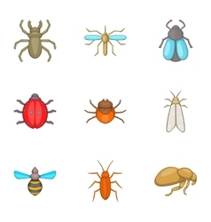 Order of insects icons set cartoon style vector